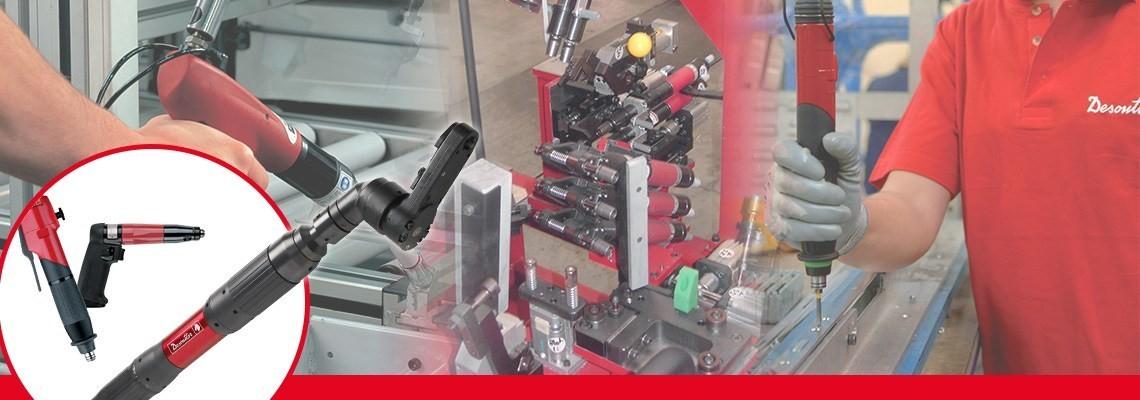 herramientas industriales Desoutter creo unagama completa de herramientas neumátics para ensamblaje incluyendo atornilladores sin hut off tipo pistola diseñadas con precisión y calidad.